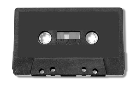 Old compact audio cassette (tape), macro shot on white background,with clipping path Stock Photo