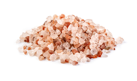 himalayan pink salt isolated on white background