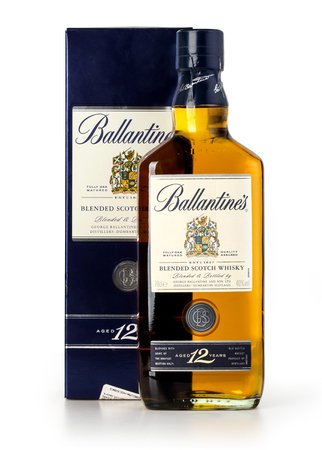 27 years old: CHISINAU, MOLDOVA - January, 27, 2016: Photo of a botle of Ballantines 12 years old scotch whiskey.Ballantines is a range of blended scotch whiskies produced by Pernod Ricard in Dumbarton, Scotland. Editorial