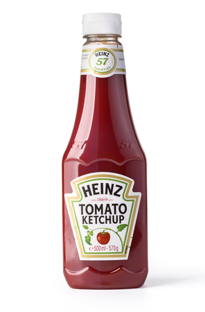 ketchup bottle: Chisinau, Moldova January 17, 2017: A bottle of Heinz Ketchup isolated on white background. Editorial