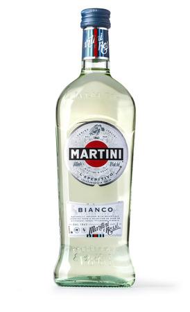 Chisinau, Moldova January, 17, 2017: Bottle of Martini Bianco isolated on white background, Vermouth, Italy