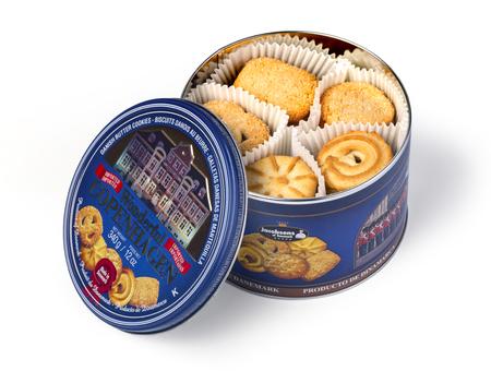 Chisinau, Moldova January 18, 2017:Wonderful Copenhagen Butter Cookie Tin  isolated on white