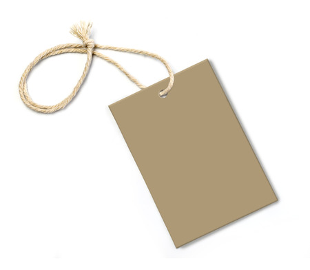 blank tag: Blank tag tied with string. Price tag, gift tag, sale tag, address label