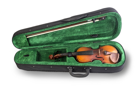 violin in the case of green isolated on white background Stock Photo