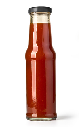 spicy cooking: barbecue sauces in glass bottles with clipping path
