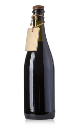 vintage wine bottles with blank tag isolated on white with clipping path