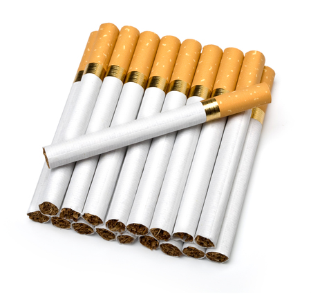 cigarette pack: Tobacco cigarettes isolated on a white background with clipping path