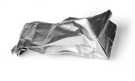 scrunch: crumpled packaging isolated on white background with clipping path