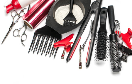 isolated on white: Professional hairdresser tools, isolated on white