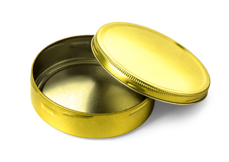 Empty golden metal box isolated on white