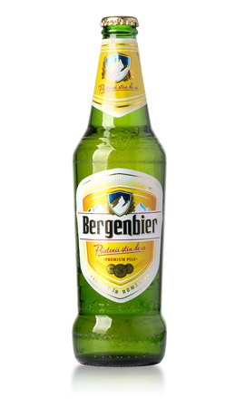 CHISINAU , MOLDOVA- March 18, 2017: Classic bottle Of Bergenbier beer isolated on white studio shot.