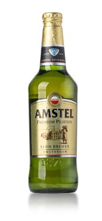 CHISINAU , MOLDOVA- March 18, 2017: Classic bottle Of Amstel beer isolated on white studio shot.