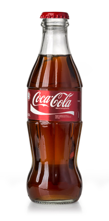 Chisinau, Moldova May 05, 2017:Coca-Cola Classic in a glass bottle Isolated on white Background. Editorial