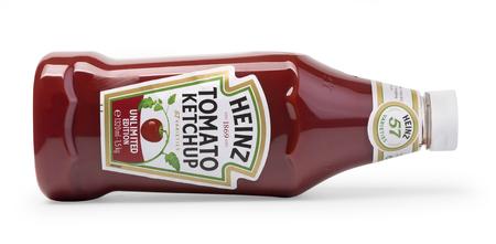 Chisinau, Moldova February 14, 2017:  A bottle of Heinz Ketchup isolated on white background.