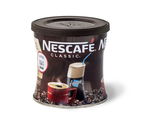 Pomos, Cyprus July 05, 2016: Nescafe coffee jar isolated on white. Nescafe - a brand of the instant coffee made by Nestle