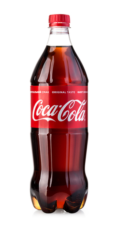 Chisinau, Moldova  May 12, 2017: Coca-Cola Classic in a plastic bottle Isolated on white Background.