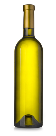 wine green bottle isolated on white background with clipping path Stock Photo