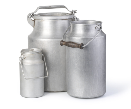 aluminium milk can on white background with clipping path Stock Photo