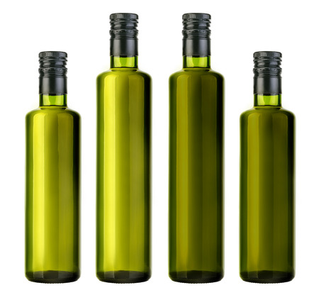 olive oil bottle isolated on white with clipping path