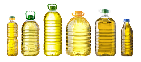 bottle oil plastic big on white background Stock Photo