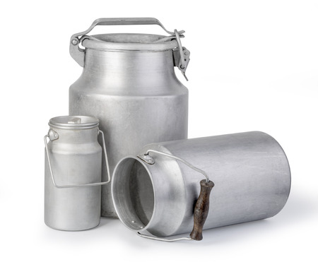 aluminum milk can on white background