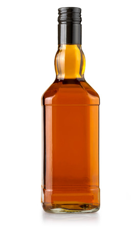 whiskey bottle blank on white background