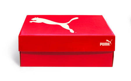 Pomos, Cyprus - September 04, 2017: A shoe box featuring on an isolated background. Puma, a major German multinational company. Isolated on white. Product shots