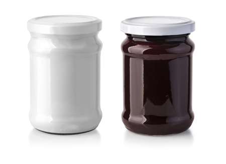 jar in the white package isolated  Stock Photo