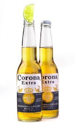 CHISINAU, MOLDOVA - January 19, 2018: Photo of a bottle of Corona Extra Beer. Corona, produced by Grupo Modelo with Anheuser Busch InBev, is the most popular imported beer in the US. Editorial