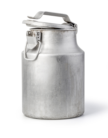 aluminium milk can on white background with clipping path Stockfoto