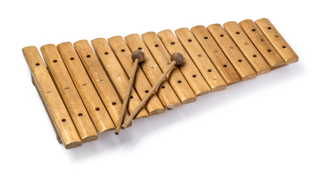 The xylophone and two mallets isolated on the white background.