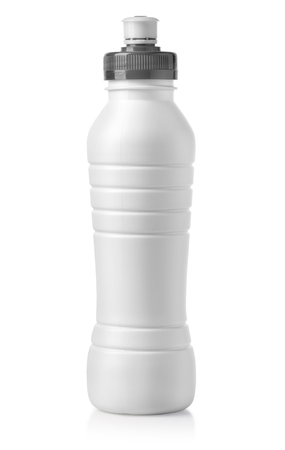 White glossy plastic bottle with screw cap for dairy products milk, drink yogurt, cream, dessert. , with clipping path
