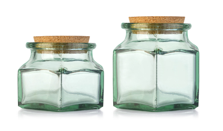 Old fashioned glass bottle with cork stopper.With clipping path Imagens