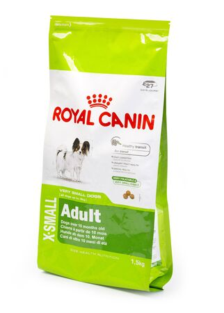 CHISINAU, MOLDOVA- Aprili 21, 2018: 1,5 KG Pack Of Royal Canin Adult Dog Food on a White Background with clipping path