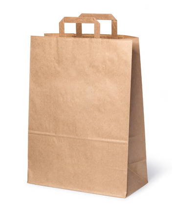 Paper shopping bag isolated on white background with clipping path Stockfoto