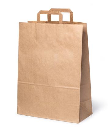 Bolsa de papel aislada sobre fondo blanco con trazado de recorte Foto de archivo