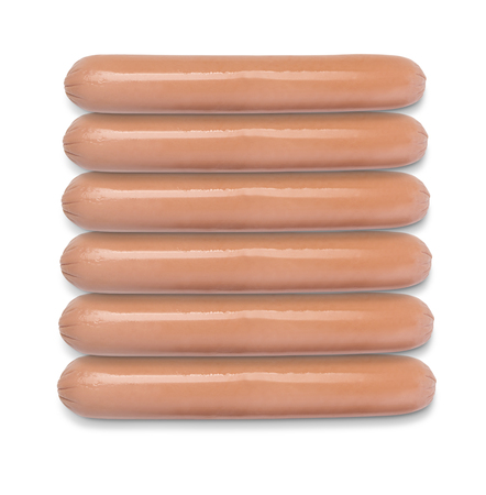 raw sausages  isolated on white background. Top view 写真素材