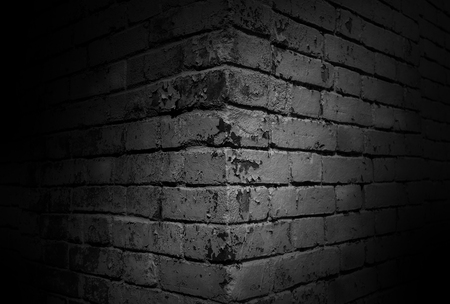 House corner, brick wall in black, background