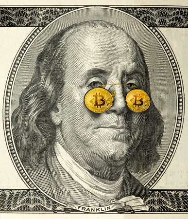 close-up portrait of Franklin with bitcoin glasses