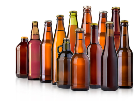 beer bottle on white background isolated