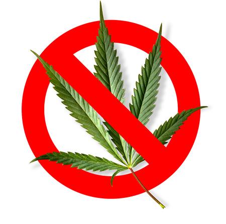 NO marijuana symbolic sign red circle green leaf white background Stock Photo - 110190900