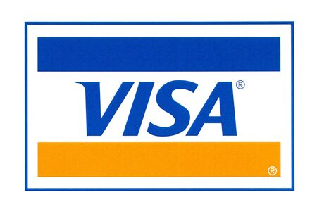 Chisinau, Moldova - September 19, 2018: Visa logo printed on the paper and placed on white background.Visa - American multinational company providing services of payment operations. Éditoriale