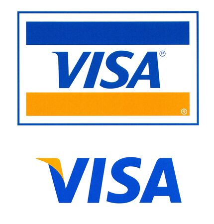 Chisinau, Moldova - September 19, 2018: Visa logo printed on the paper and placed on white background.Visa - American multinational company providing services of payment operations. 報道画像