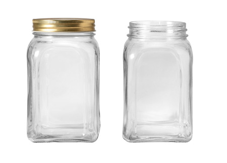 Empty jar isolated on white background Фото со стока