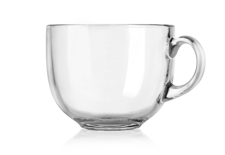 Glass mug empty blank for coffee or tea isolated on white background . with clipping path