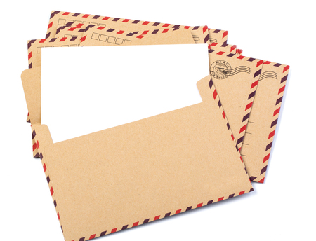 Envelope brown-gray wood par avion retro vintage isolated on white background
