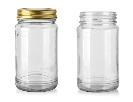 Empty glass jar isolated on white with clipping path Standard-Bild - 117163502
