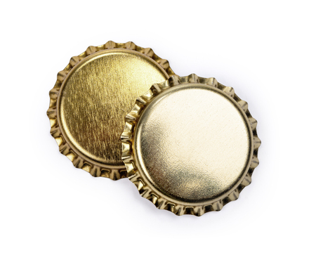 bottle caps on white background with clipping path