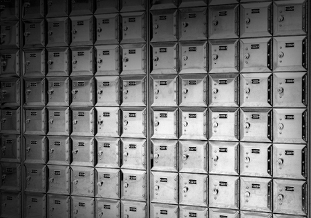 metal mail boxes black and white background