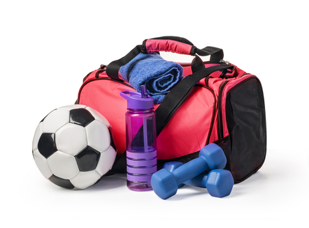 Sports bag with sports equipment isolated on white with clipping path